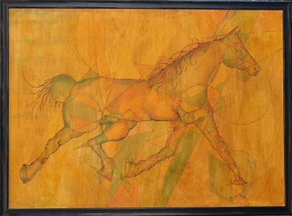 Cavallo: pirografia su legno pitturata con colori anilina e gommalacca