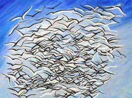 Gabbiani in volo, olio su tela 60x80cm
