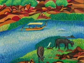 Opera artista Virginiart. Olio su tela acquerello fiume Narmada durante un viaggio India