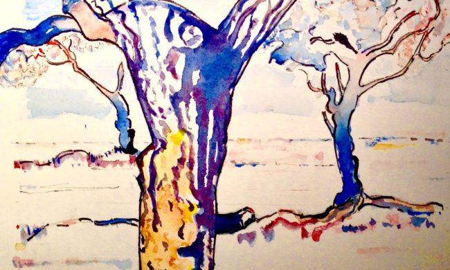 acquerello-e-china-su-carta-cotone-alberi-quadro-annuncisubito-eu