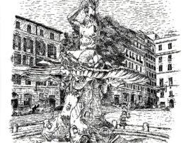fontana-del-tritone-arte-matita-in-grafite-mediajob-eu-disegno-in-china-della-bella-fontana-romana-situata-in-piazza-barberini-a-roma