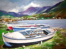 In riva al lago Acrilico su tela fissata al compensato