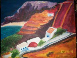 Kythnos (Isola greca) acrilico su tela artista greca