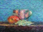 Natura morta quadro olio su tela di iuta grezza