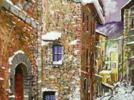 Nevicata a Gubbio Acrilico su tela fissata al compensato