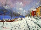 Nevicata in riva al lago Acrilico su tela fissata al compensato