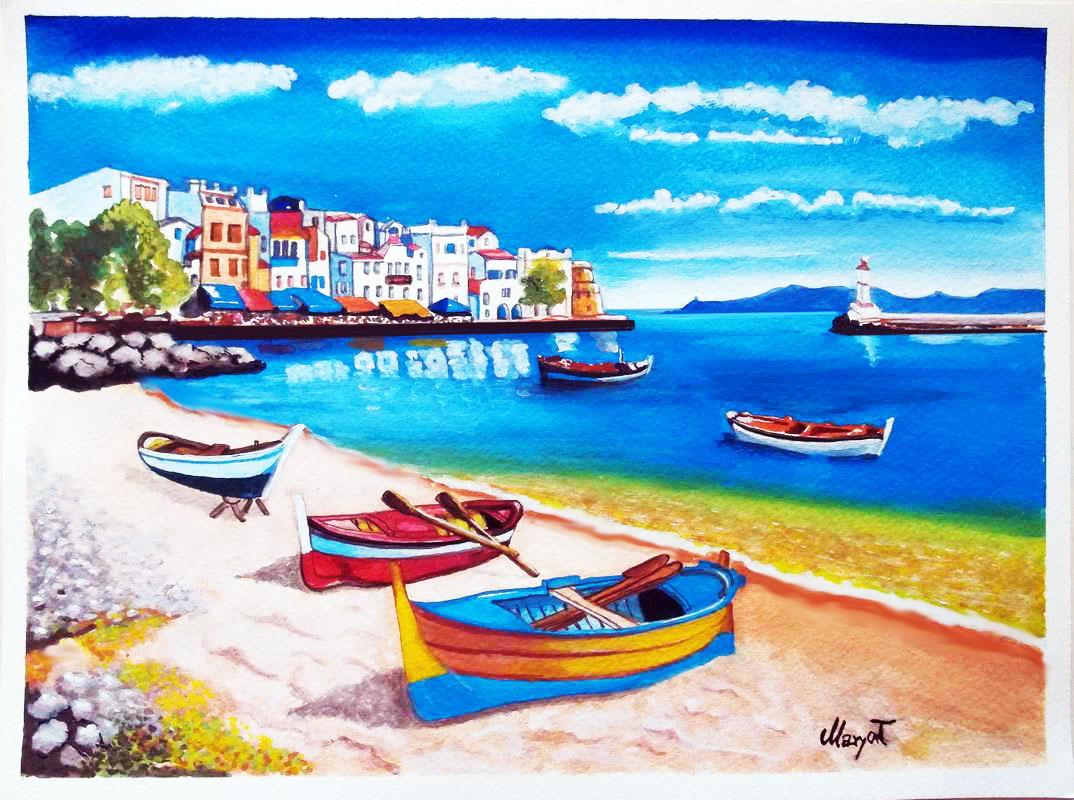 Quadri vendita online paesaggio marino for Disegno paesaggio marino