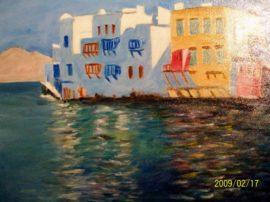 Porto di Venezia, Myconos, Grecia. Olio su tela