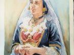 Quadro Donna con rosario. Dipinto olio su tela dell'artista Pinucciu. Mediajob.eu
