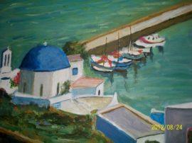 Quadro pittura acrilico su tela isola skiathos grecia mediajob.eu