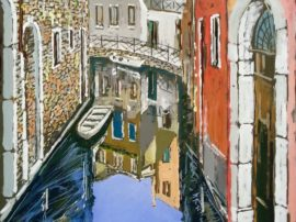 Scorcio di Venezia. Acrilico su tela fissata al compensato