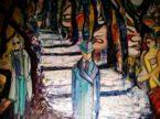 Uomo sulle scale. Dipinto olio su tela.