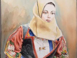 Quadro Donna di orgosolo. Dipinto olio su tela. Mediajob.eu
