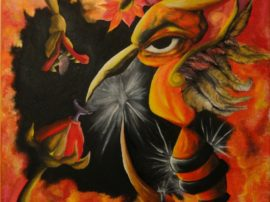 quadro pittura-colibri-olio-su-tela-artista-iuliacarmina-mediajob-eu
