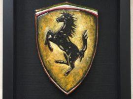 Logo Ferrari. Dipinto cavallino rampante Ferrari. Olio su tela.