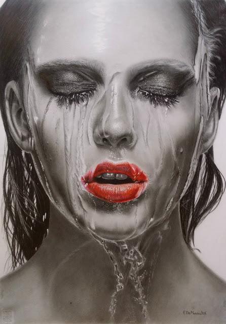 Francesco De Marco ROSSO FUOCO grafite, carboncino e matite acqarellabili, misure 50x70
