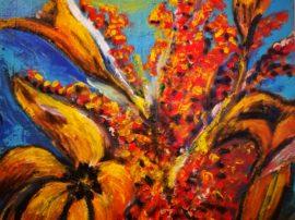 Quadro dipinto gigli olio su tela
