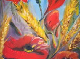 Quadro dipinto papaveri olio su tela