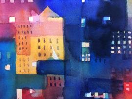 Urban landscape. Dipinto astratto città