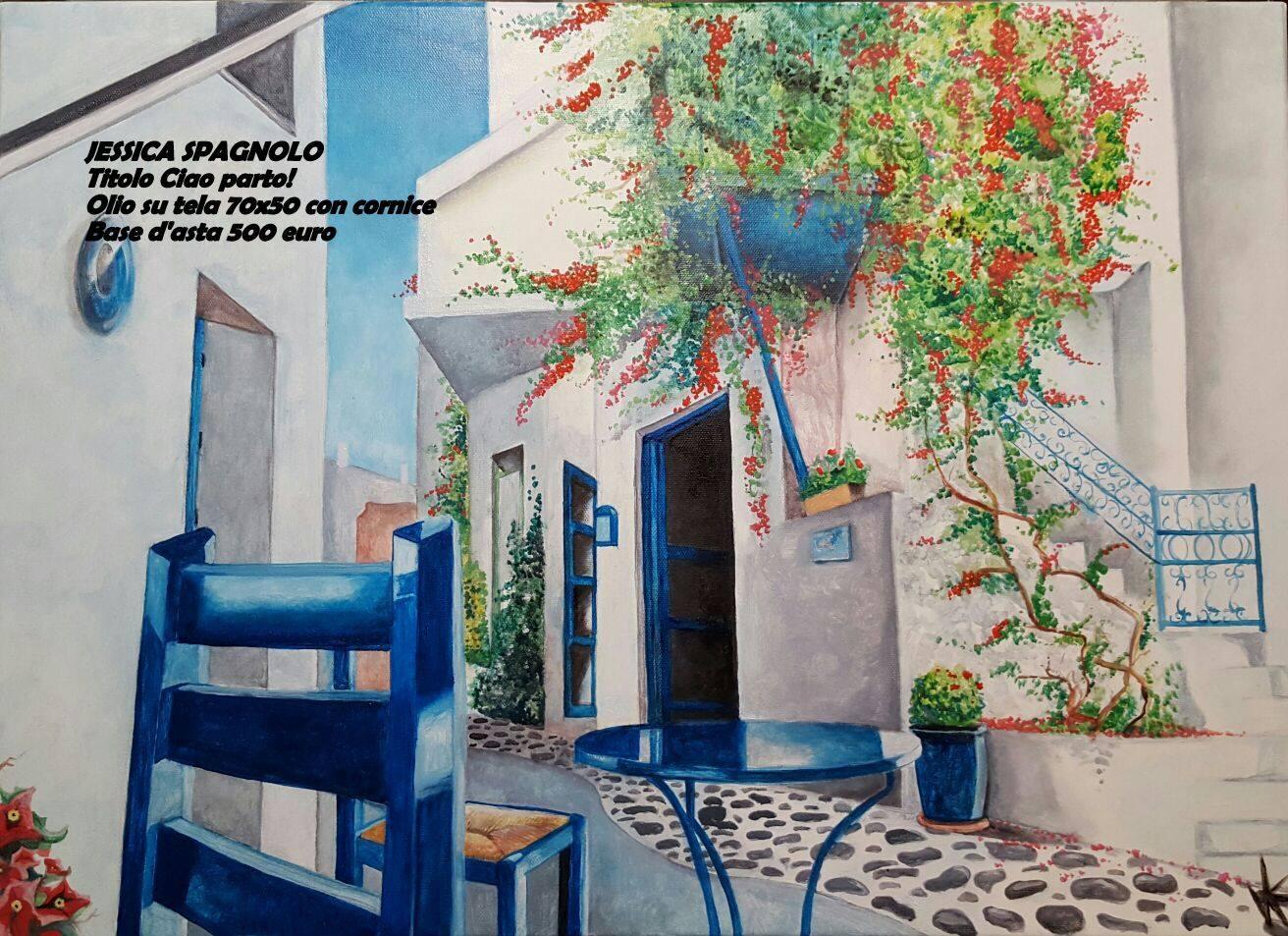 Artista Jessica spagnolo dipinto ciao parto