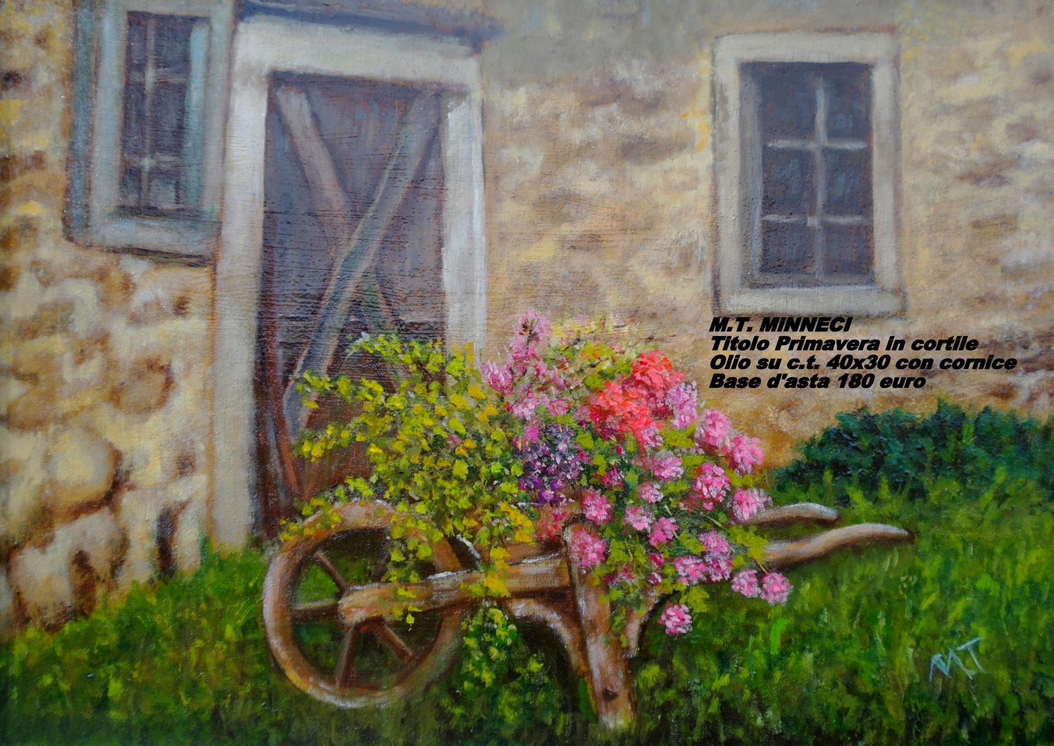 Artista Minneci. Primavera in cortile. olio su carta con cornice