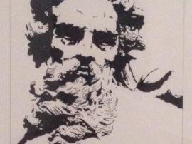 Diego sabellico dipinto neptune trattopen su carta