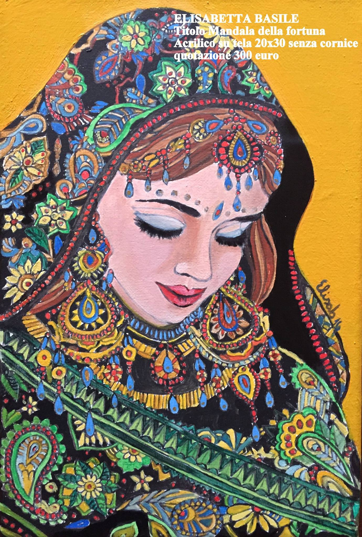 Dipinto Mandala della fortuna. Acrilico su tela. Artista Elisabetta Basile
