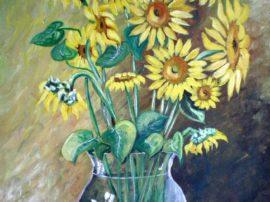 Dipinto Vaso con girasoli. Acrilico su tela. Artista Felice Arcamone