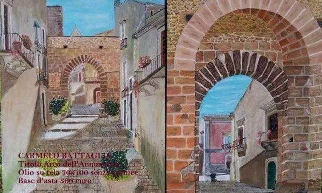 Dipinto arco dell'annunziata. Quadro pittore italiano