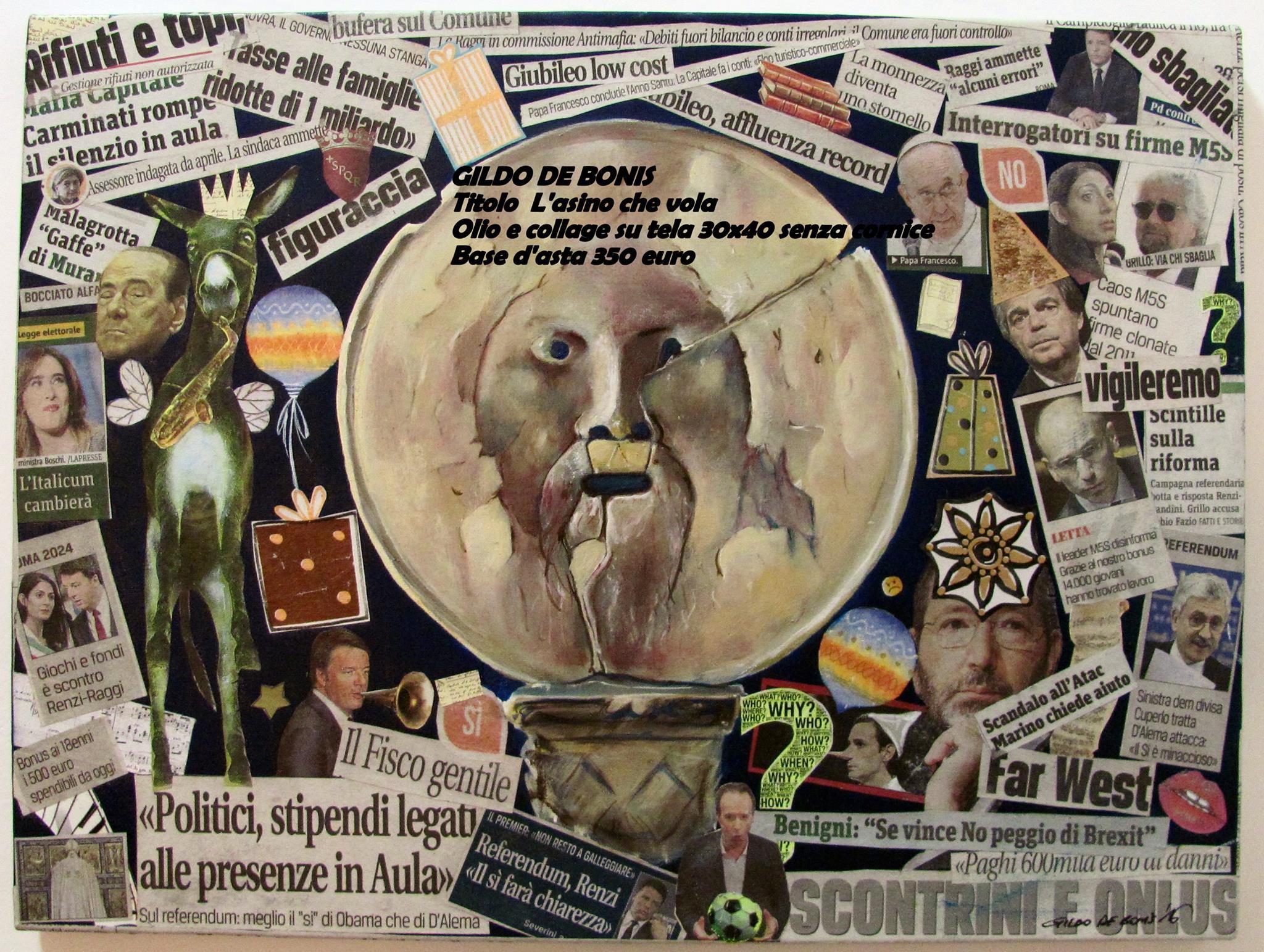 Dipinto olio e collage su tela asino che vola mediajob passione dipingere