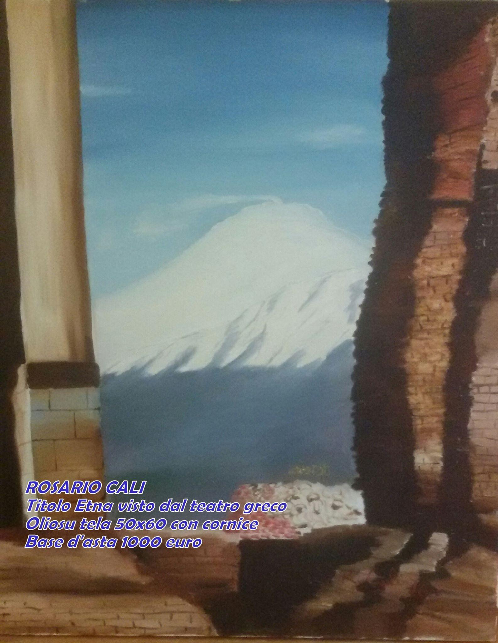 Dipinto quadro Etna vista da teatro greco