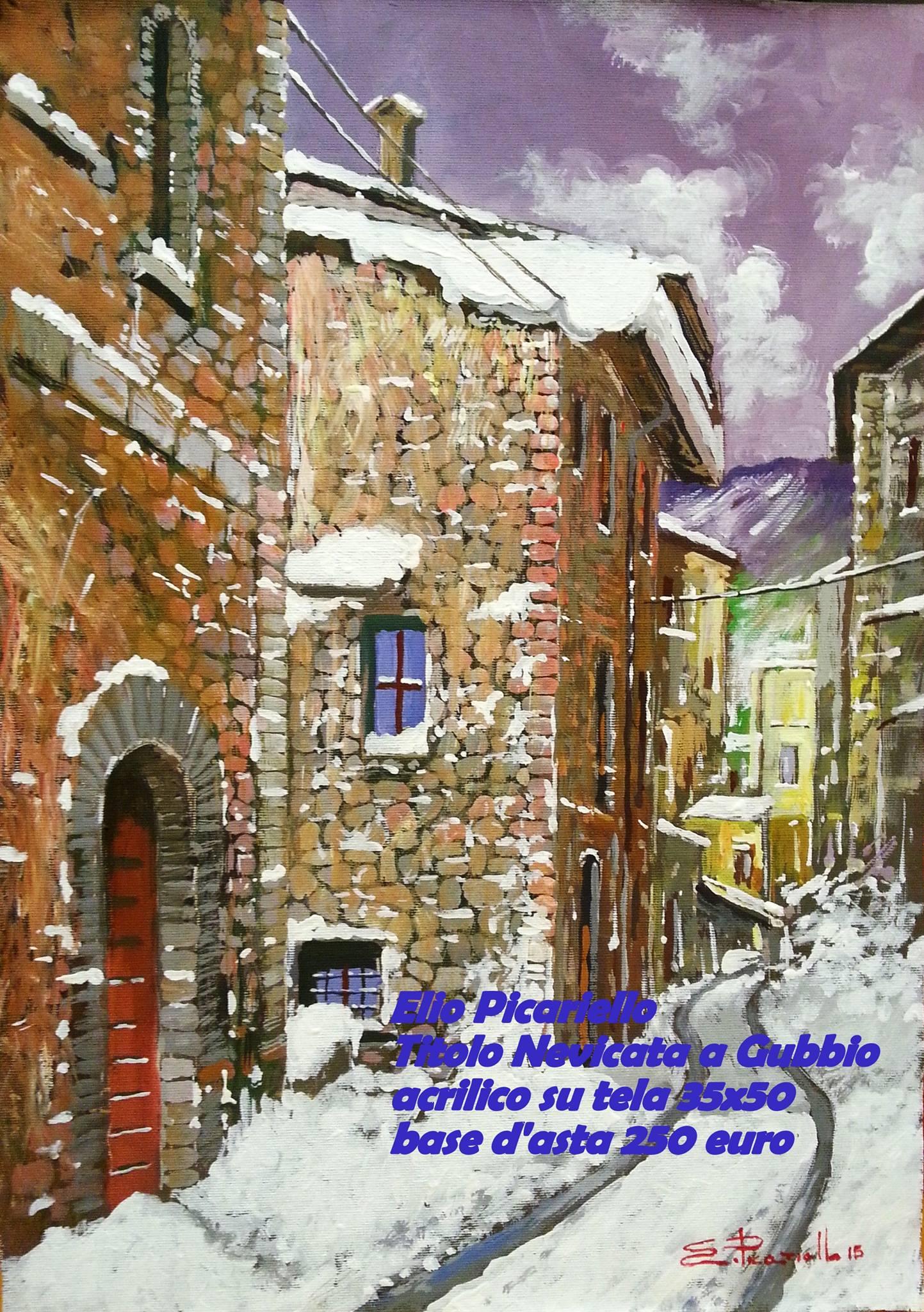 Dipinto quadro nevicata a gubbio olio su tela