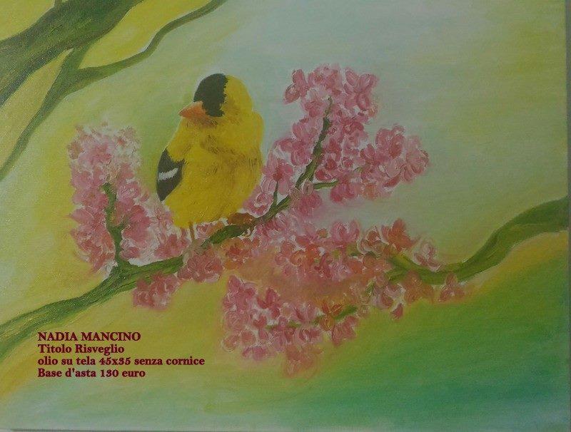 Olio su tela Nadia Mancino il risveglio. Pittrice italiana