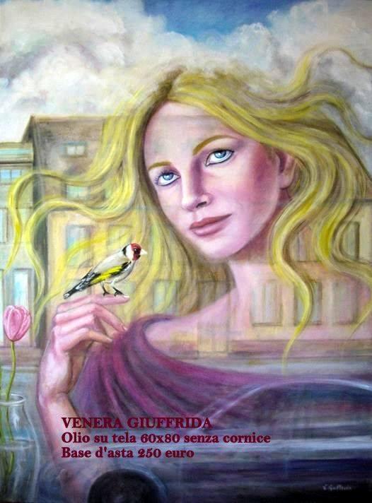 Olio su tela dipinto Venere Giuffrida con cardellino