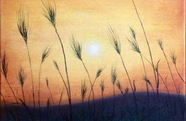 Olio su tela dipinto quadro. Pittore italiano Roccia