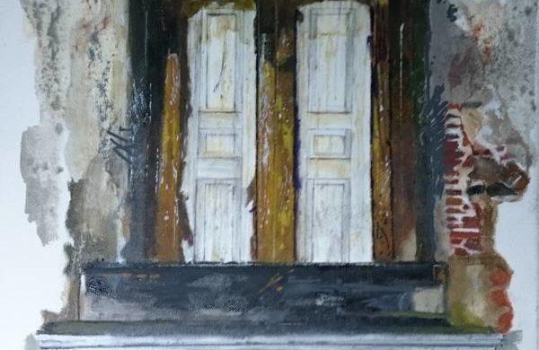 Olio su tela pittura vecchia finestra. Artista italiano Giuseppe Sala