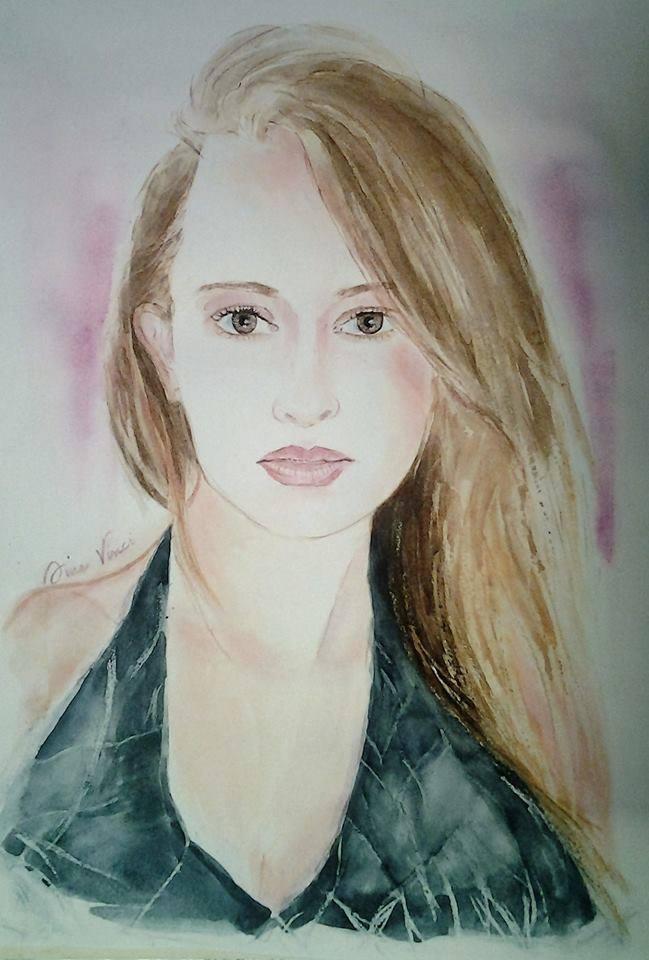 Ritratto modella Lidia Laudani. Ritratto ad acquerello