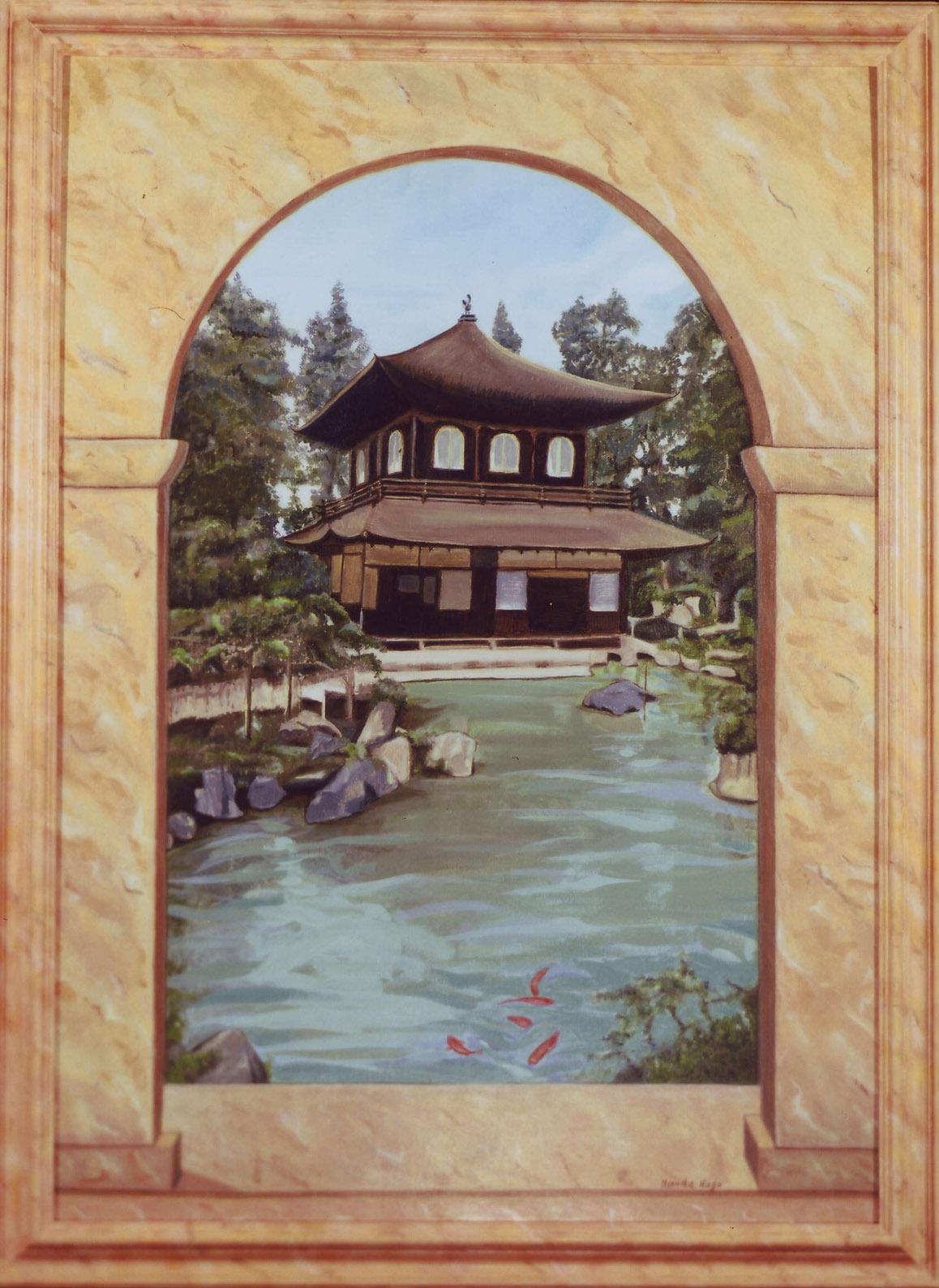 Tempio giapponese. Dipinto artista Nanda Rago. Trompe-l'oeil