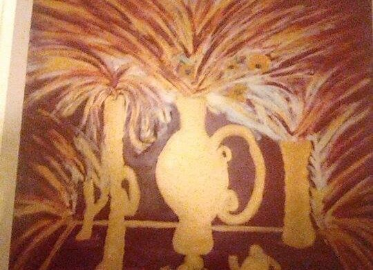 Vaso con fiori dorati .100×100. Acrilico