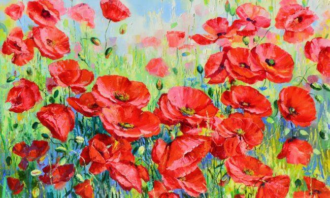 A poppy field, Oil on Canvas