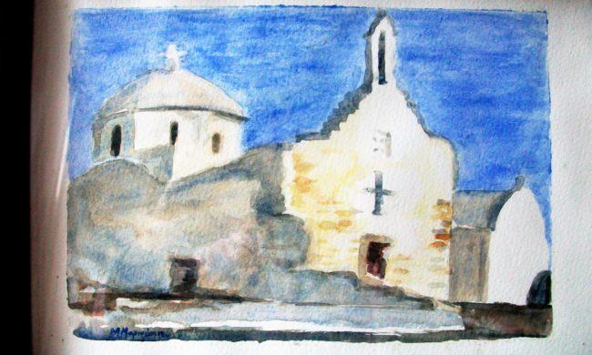 Chiesa a Paros. Acquerelli.
