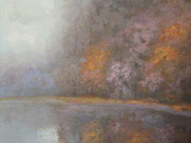 Dipinto a tempera 30 x 40 Icolori dell'autunno con inizio della nebbia