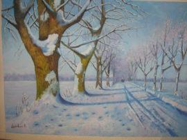 Dipinto paesaggio invernale