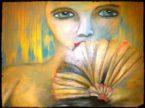 La dama con ventaglio 70x50 tecnica mista su tela.