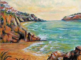 Dipinto olio su tela mare del sud Calabria e Sicilia