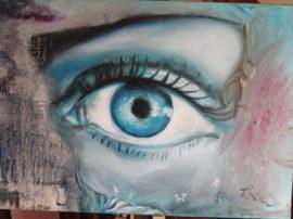 Occhio blu. Olio su tela.
