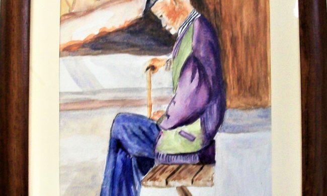 Vecchio la siesta acquerelli su tela