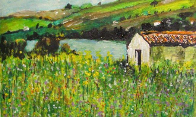 Acrilico arte e pittura vendita quadri dipinti disegni for Disegni casa sul lago