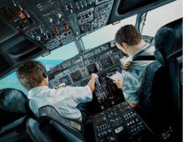 Dipinto quadro olio su tela aereo 737