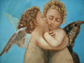 Angeli. Dipinto quadro olio su tela. Artista Pinamaria Polcari.